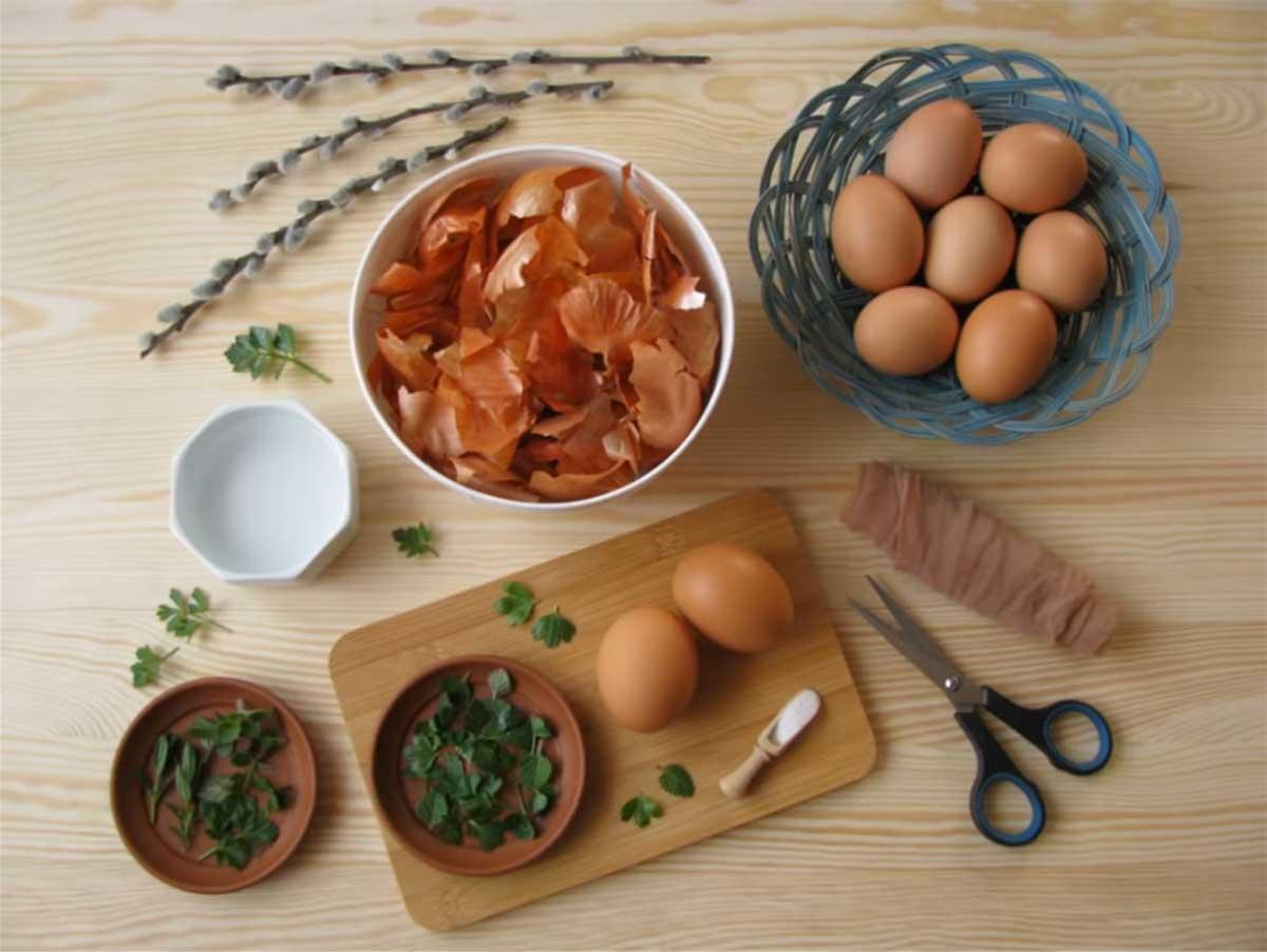 A tojásfestés alkotóelemei: só, ecet, vöröshagymahéj, tojás. / Fotó: Ani5972's DIY Channel