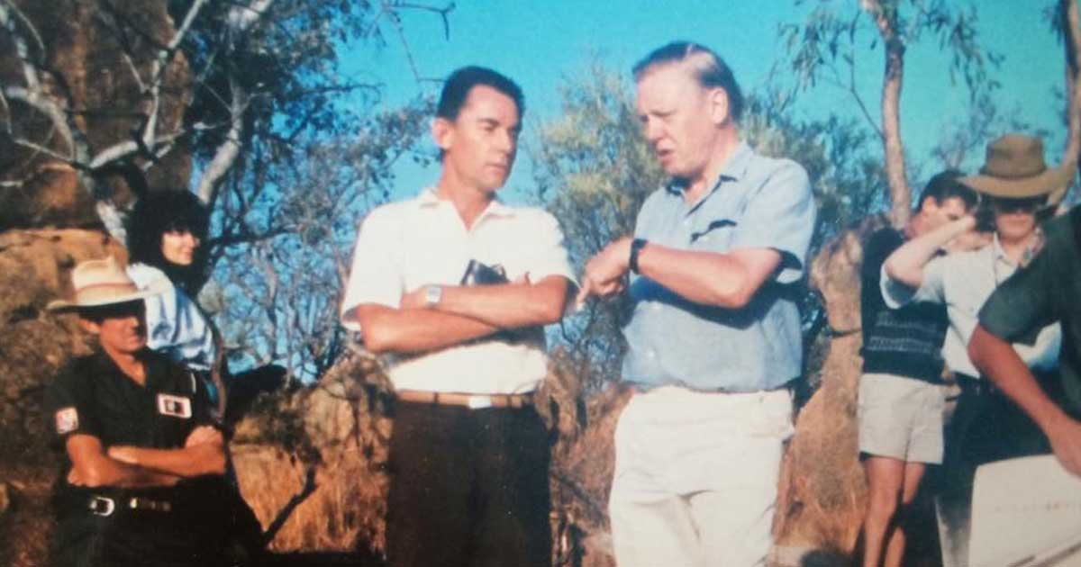 David-Attenborough egy afrikai forgatás alkalmával 1992. október 15. / Fotó: Wikipedia