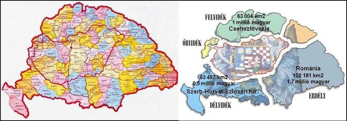 Nagy-Magyarország vármegyéi és a Trianon alkalmával szétszabdalt ország képe.